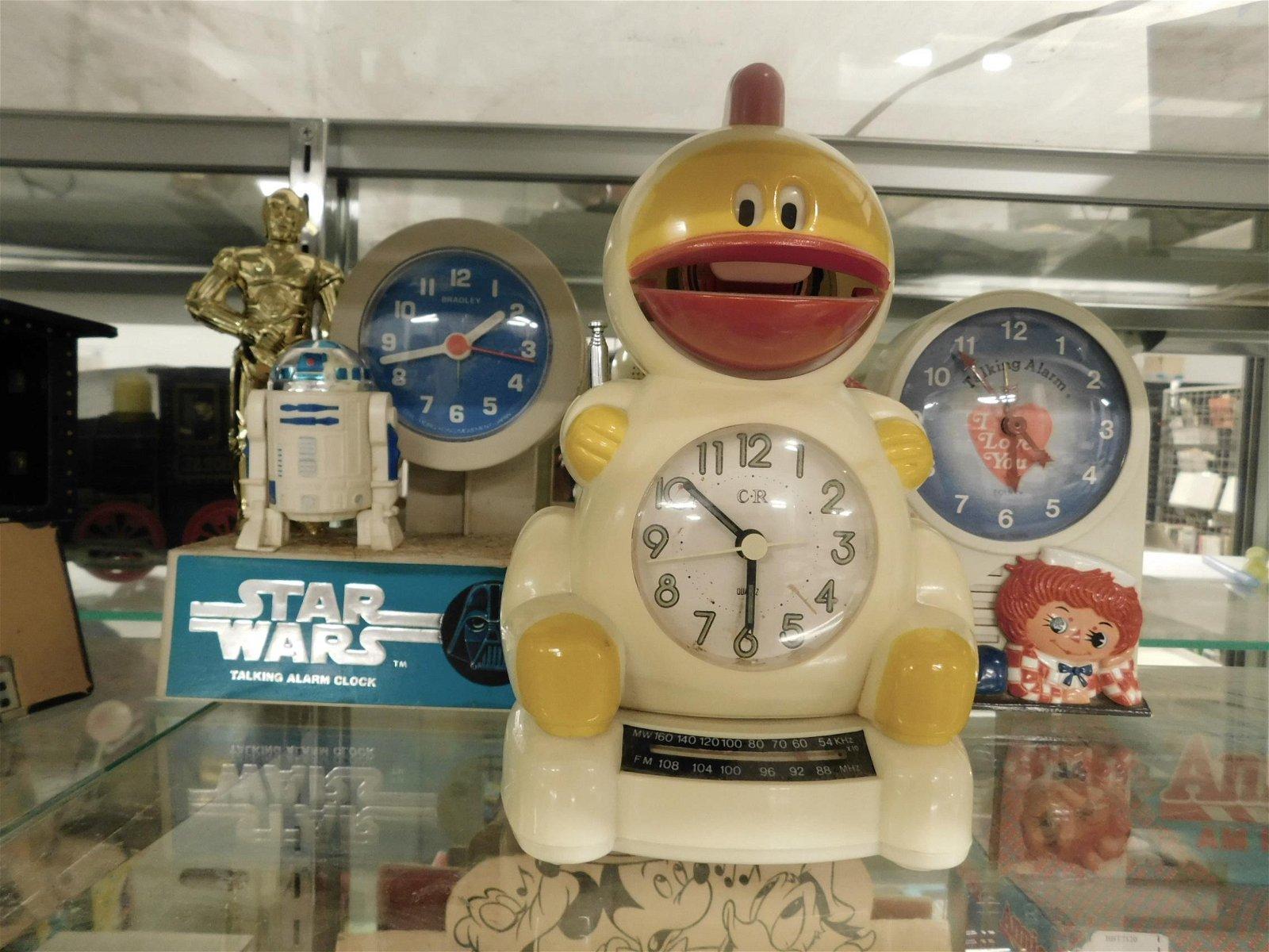 3 Vintage Character Alarm Clocks