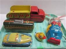 5 Vintage Tin Litho Toys