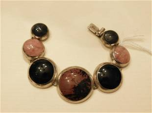 Mexican Sterling Hardstone Bracelet