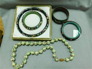 Chinese Cloisonne Jewelry Group