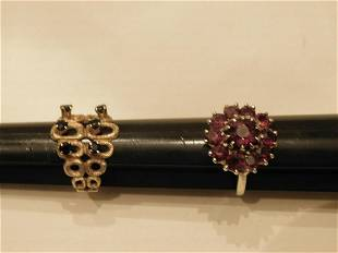 2 Garnet Sapphire Gold Rings