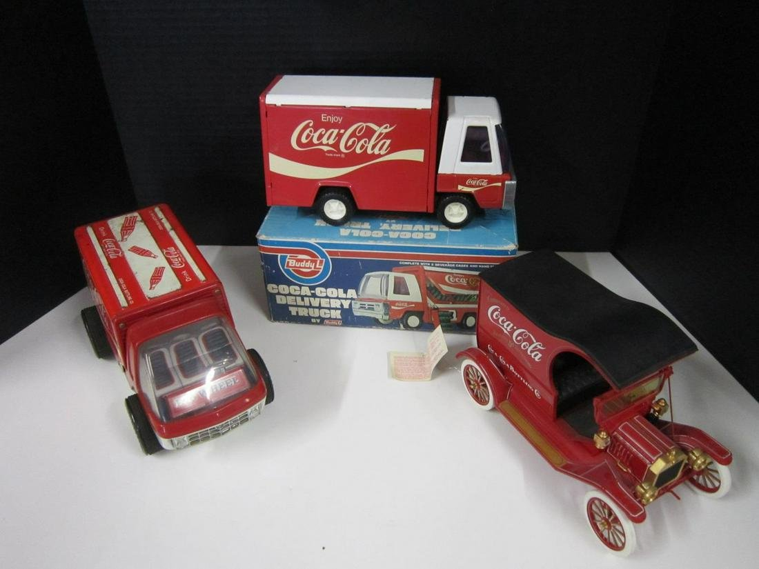 3 Coca Cola Pressed Steel & Die Cast Vehicles