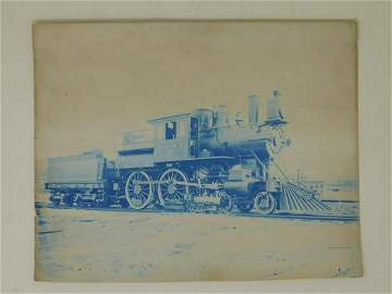 Two Antique Cyanotypes Model Live Steam Trains