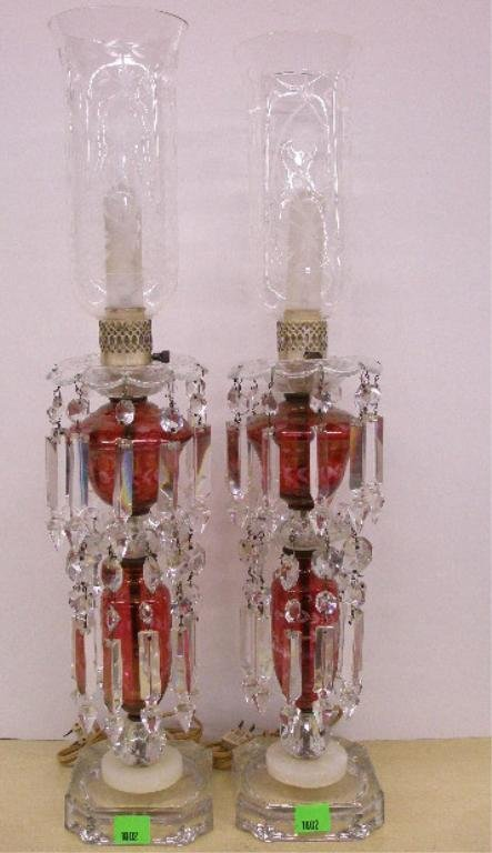 1002: Pr Crystal & ruby glass Hurricane lamps