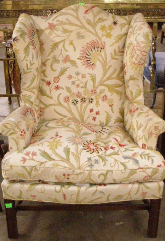 1015: Chippendale Style Mahogany Wing Chair