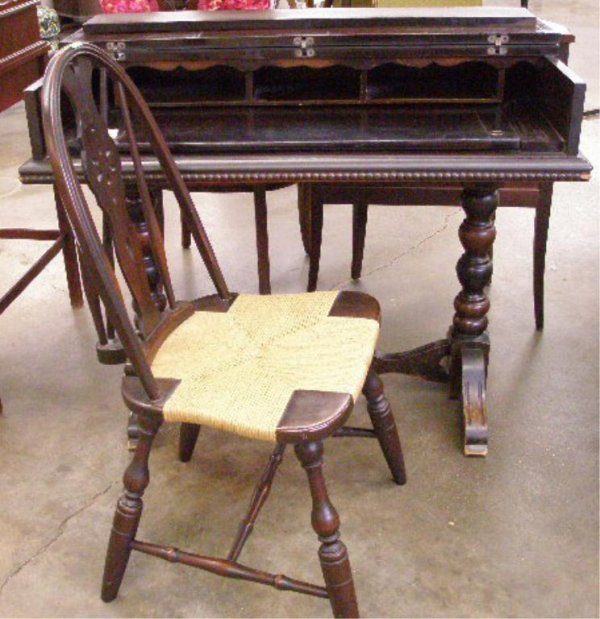 1021: Walnut Spinet Desk & Windsor chair
