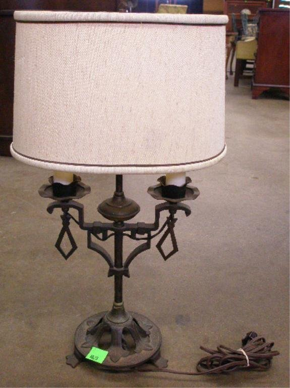 1023: Deco hammered  iron table lamp