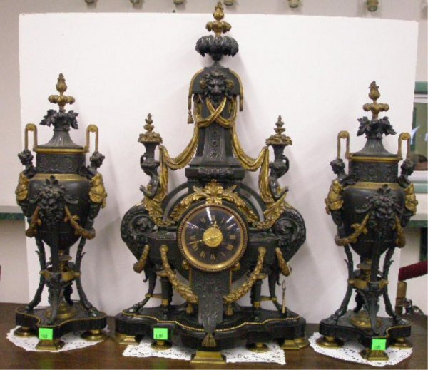 1303: Important Bailey & Co, Philadelphia clock ensembl