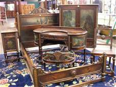 1345 Renaissance style hand painted Bedroom set