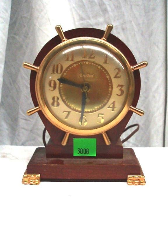 3008: United Clock Corp-Electric Ship's Wheel Clock