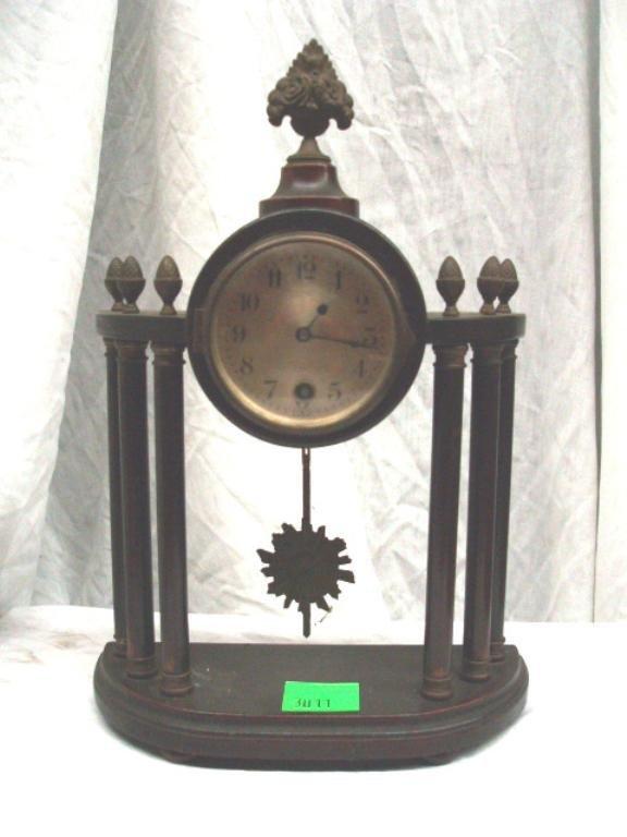 3011: German Mahogany Pillar Mantel Clock