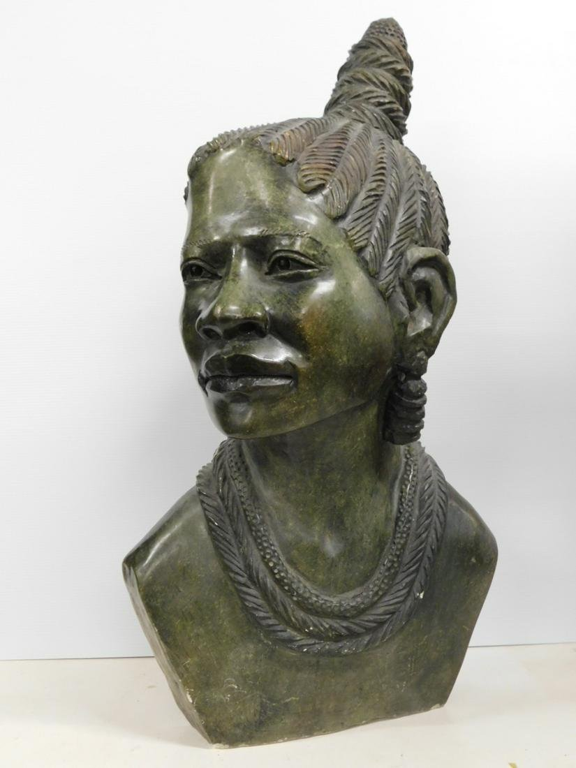 African Stone Carved Bust