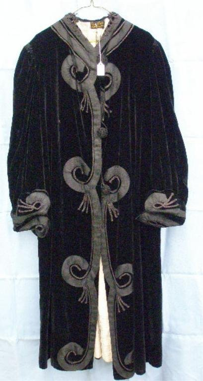 1098: Edwardian ankle length black velvet coal