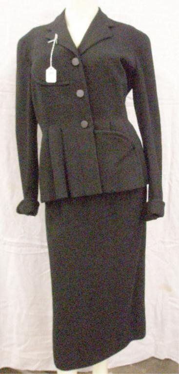 1099: Pierre Bamain, Paris black wool crepe suit