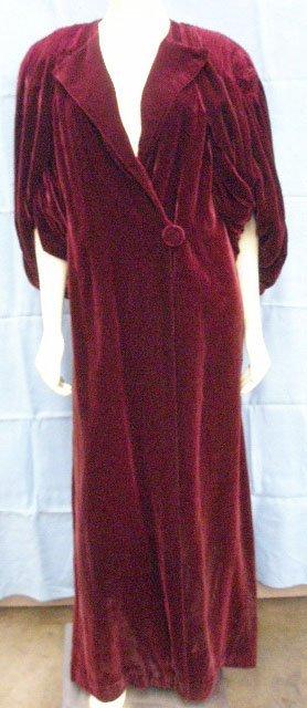 1100: Burgundy velvet ankle-length evening coat