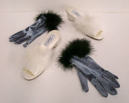 1107: White satin wedge-soled slippers