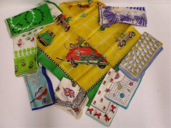 1110: Lot of 10 silk scarves