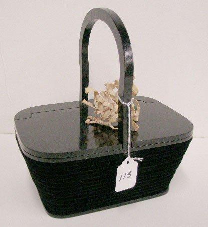 1113: Black velvet box bag