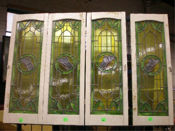 2001: Set, 4 leaded & stained cabinet window doors