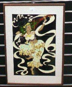 Relief Glazed Figural Tile Plaque