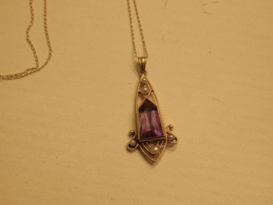 14k YG Amethyst Edwardian Drop & Chain