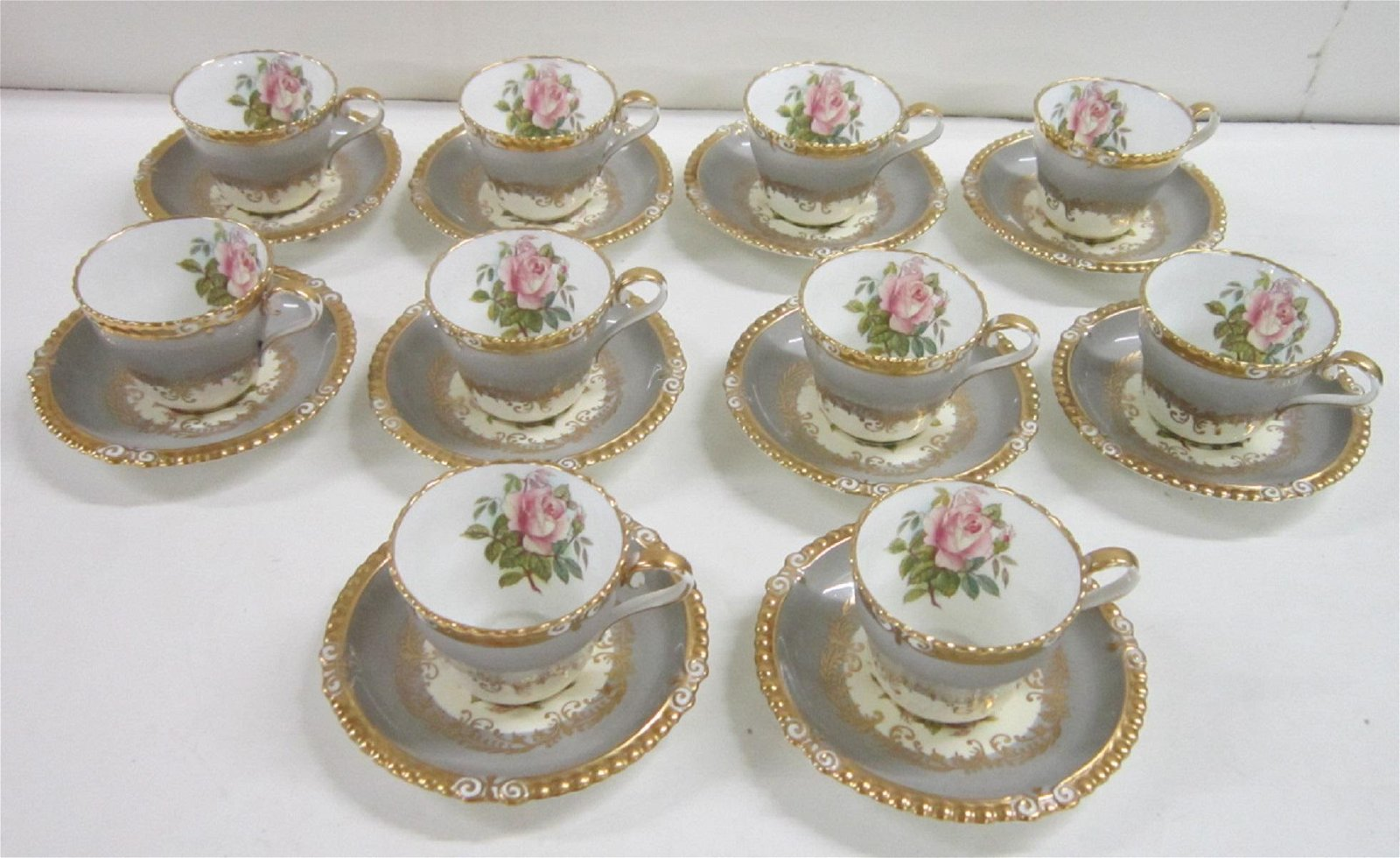Set of 10 Aynsley Bone China Cups & Saucers
