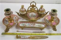 French Porcelain & Bronze Desk Set