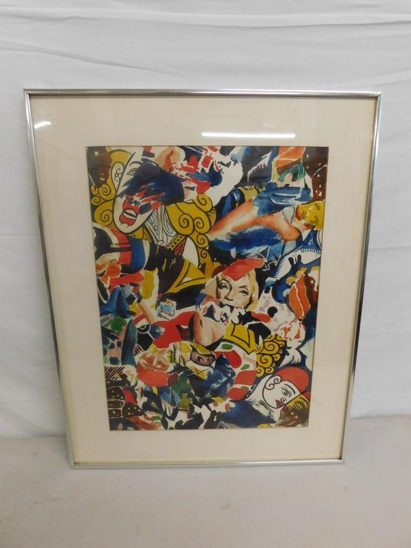 "1447Walter Condit Watercolor ""Marilyn & Clowns"""