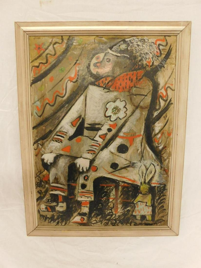 Guss Signed Cubist Clown Painting