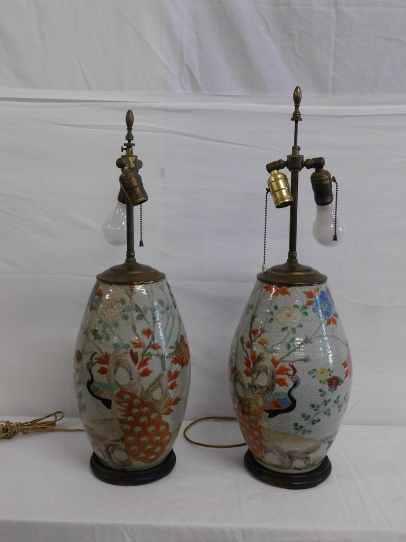 Pair Chinese Crackle Glaze Porcelain Vases