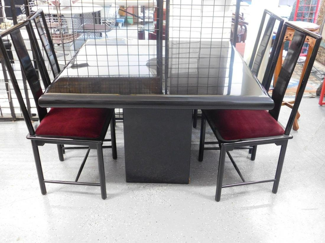 Contemporary Black Lacquer Dining Set