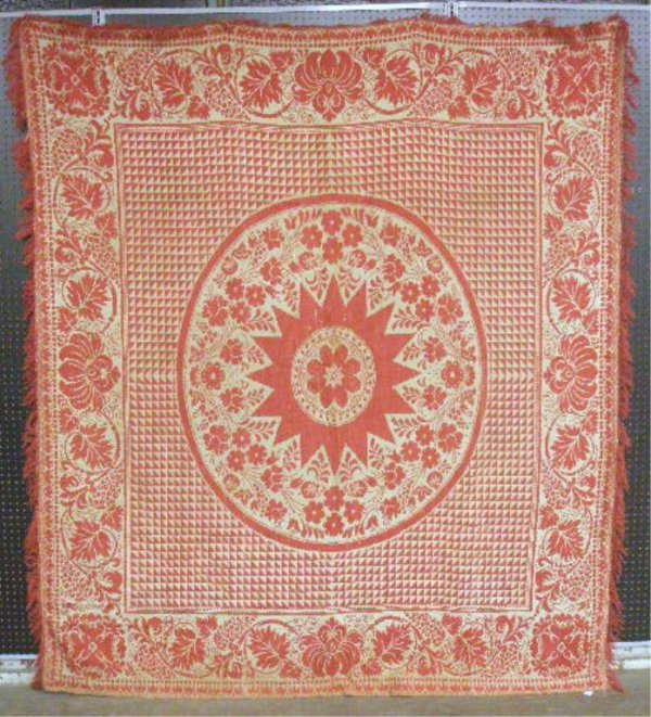 4000: Late 19th c. Jacquard Coverlet