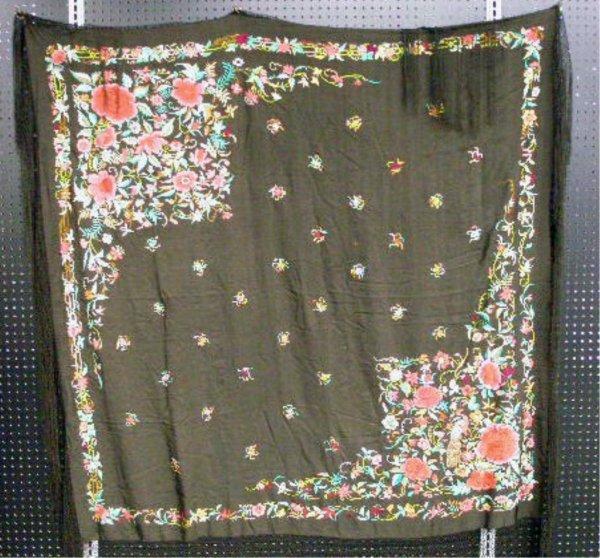 4001: Early 20th c. Silk Piano Shawl