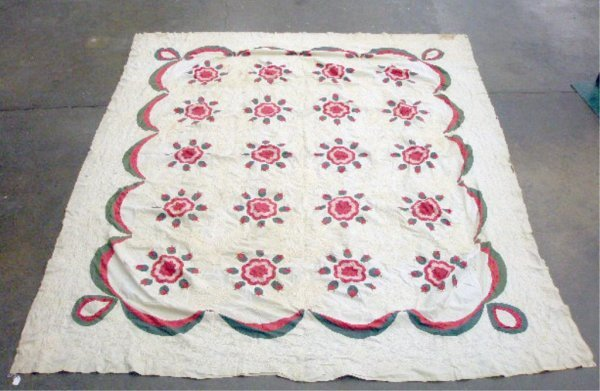 4003: Late 19th c. Moss Rose Quilt Top