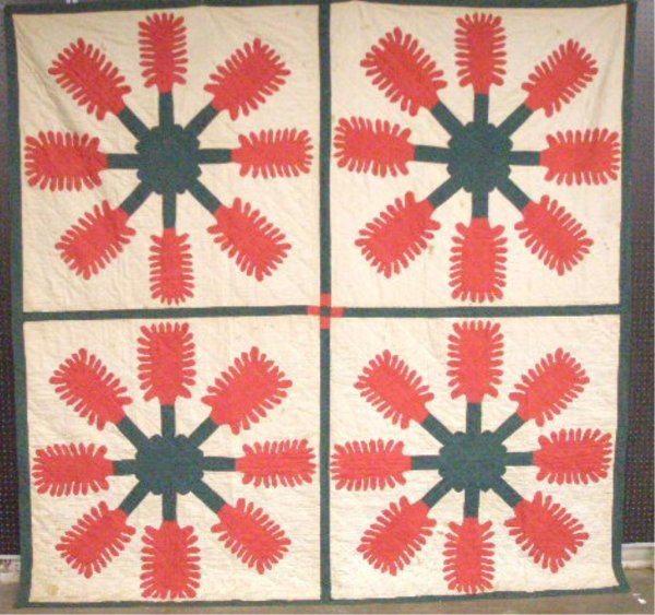 4010: Late 19th c. Plume & Flower Variation Quilt