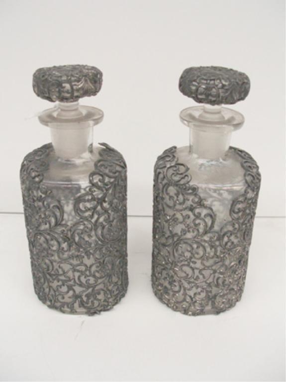 4016: Silver Plate & Crystal Cologne Bottles
