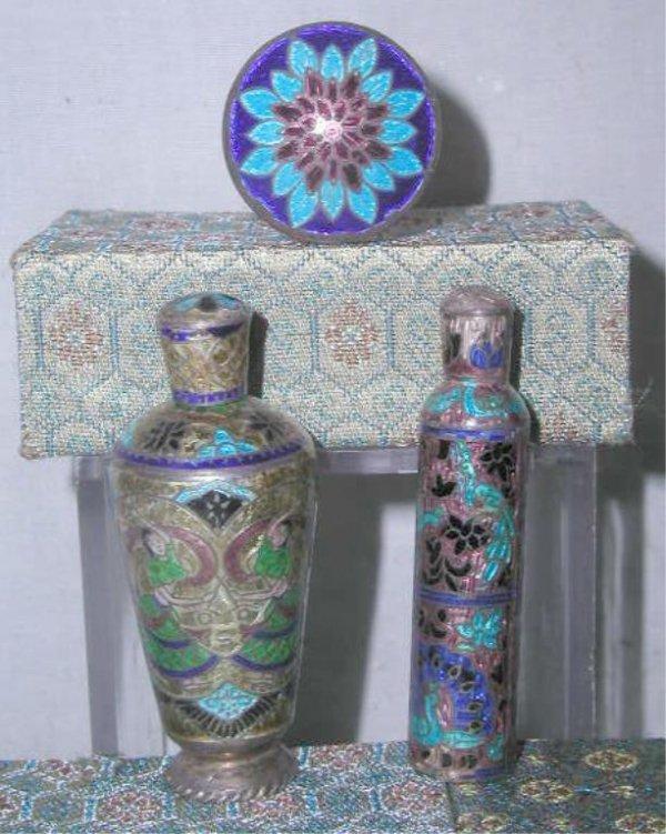 4018: Chinese Silver & Enamel Perfume Bottles & Jar