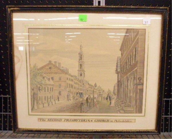 1007: 19th c Phila. Presbyterian Church Watercolor