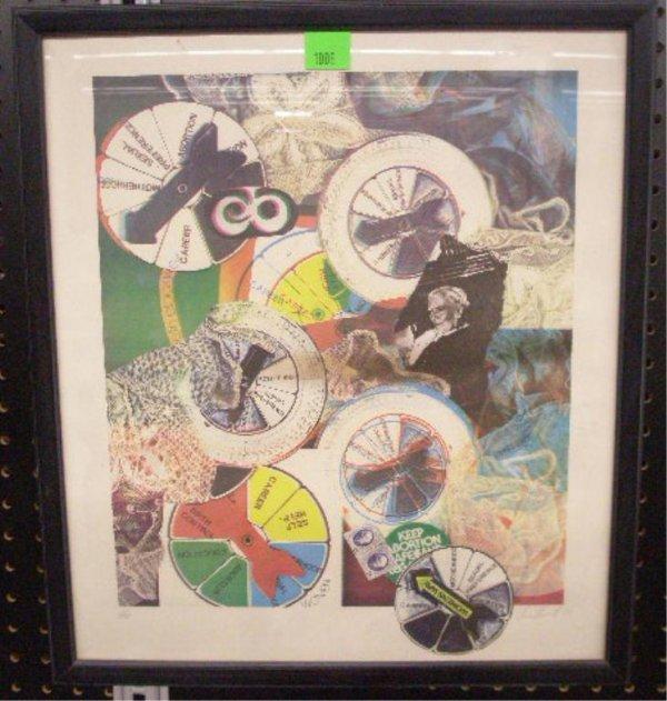 1008: Sue Huntz, Colored Lithograph