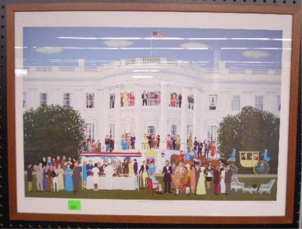1009: Cocktails at the White House Colored Print