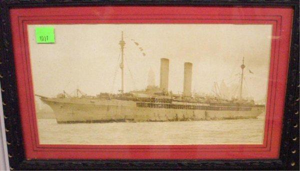 1011: US Naval Troop Transport Sepia Photograph