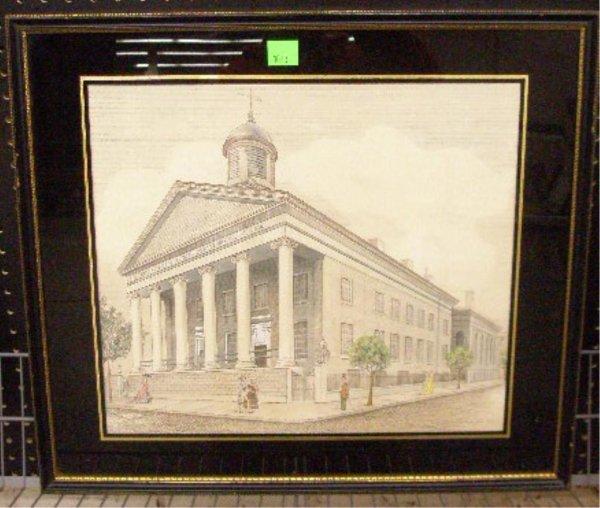 1013: 19th c. Phila. Presbyterian Church Watercolor