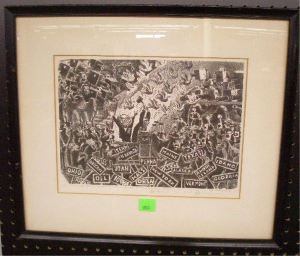 1014: Alfred Bendiner Lithograph
