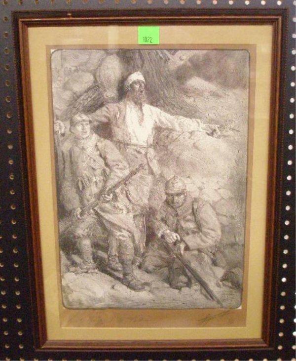 1022: Le Rampart de Verdun French War Lithograph
