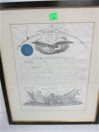 Framed Lincoln Signed Presidential Commission