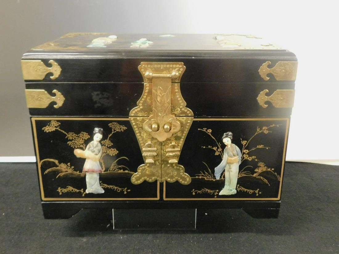 Chinese Black Lacquered Jewelry Chest
