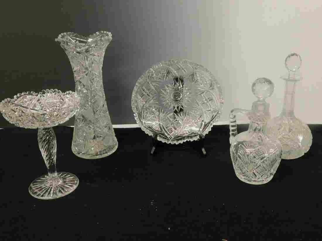 5 Cut Glass Pieces