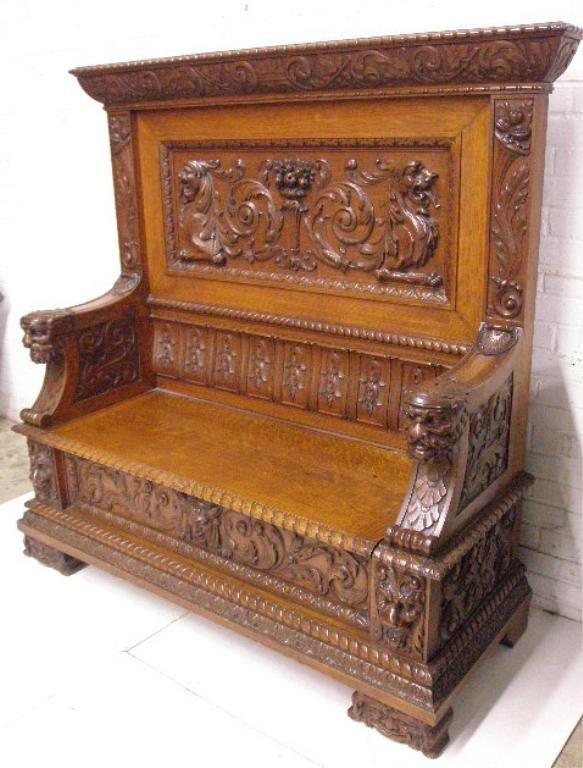 2256: Jacobean Revival carved Settle
