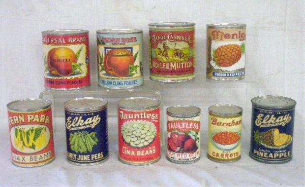 Vintage Fruit & Vegetable Tin Cans