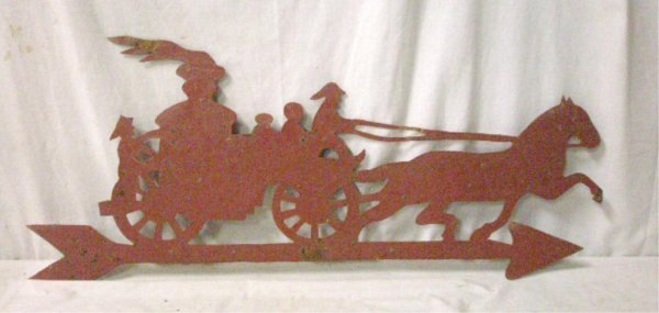 Early 20th c. Horse Drawn Fire Truck Weathervane